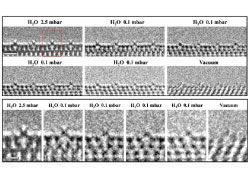 Visualizing H2O molecules reacting at TiO2 active sites with transmission electron microscopy
